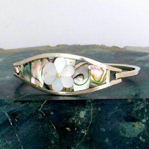 Mexican Bracelet Abalone Shell MOP Alpaca K04